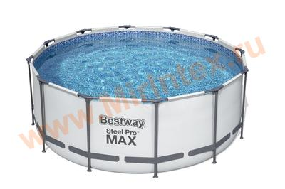Bestway Бассейн каркасный круглый SteelPro 366х122 см (фильтр-насос 220 В, настил, тент, лестница)