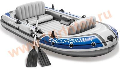 INTEX 68324 Лодка Excursion-4, 4 местная, 315 х 165 х 43 см, вёсла, насос ручной, до 500 кг.