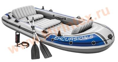 INTEX 68325 Лодка надувная Excursion 5, 5 местная, 366 х 168 х 43 см, вёсла алюминиевые, насос ручной, до 600 кг.