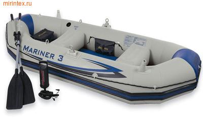 INTEX Лодка Mariner-3 SET 297х127х46 см (ручной насос, алюминиевые вёсла)