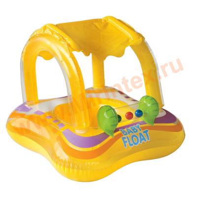 INTEX 56581 Круг для плавания с сиденьем и навесом, 81 х 66 см, от 1-2 лет.