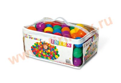 INTEX Шарики 6,5см в сумке 100шт, 6 цветов