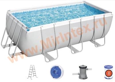 Bestway Бассейн каркасный прямоугольный 412х201х122 см (видео, фильтр-насос 220В, лестница)