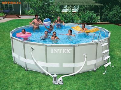 INTEX Бассейн каркасный круглый Intex 488х122 см (видео, фильтр-насос 5,6 м3/ч 220В, лестница, настил, тент) Ultra Frame Pool