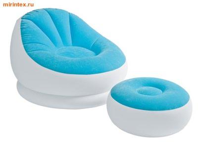 INTEX Кресло надувное с пуфиком (голубое)