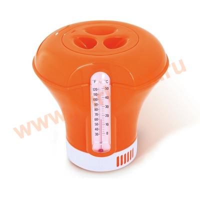 Bestway Дозатор-поплавок с термометром для бассейна 18,5 см (оранжевый)