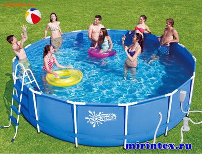 Summer Escapes Бассейн каркасный круглый 457х122 см (фильтр-насос 3,8м3 220В, лестница, настил, тент, набор для чистки DELUXE, скиммер)