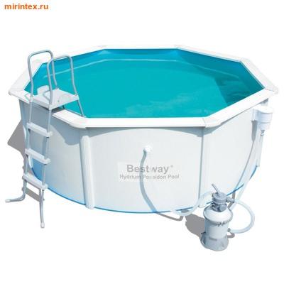 Bestway Бассейн со стальными стенками 300х120 см (песчаный фильтр-насос 2,0 м3/ч, настил, лестница, скиммер)