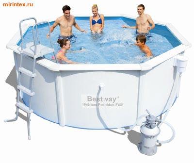 Bestway Бассейн со стальными стенками 360х120см (песчаный фильтр-насос 2,0 м3/ч, подстилка, лестница, скиммер)