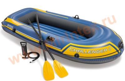 INTEX 68367 Лодка Challenger 2, 236х114х41 см, вёсла, насос, до 200 кг, 2 местная.