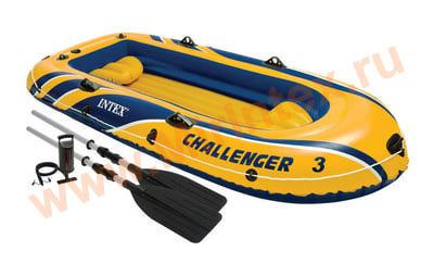 INTEX Лодка Challenger-3 295х137х43 см (алюминиевые вёсла,ручной насос)
