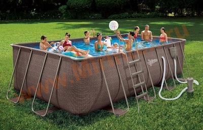 Summer Escapes Бассейн каркасный прямоугольный 549х274х132 см (фильтр-насос 220В, лестница, настил, тент, набор для чистки DELUXE, скиммер)