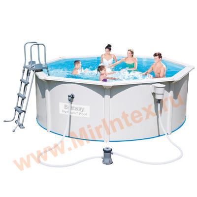 Bestway Бассейн со стальными стенками 360х120см (фильтр-насос 2,0 м3/ч, подстилка, лестница, скиммер)