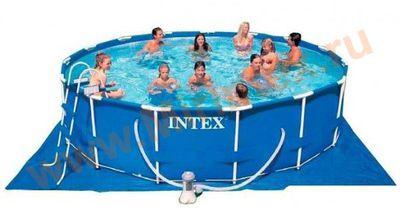 INTEX Бассейн каркасный круглый 457х84 см (фильтр-насос 2 м3, лестница, настил, тент + DVD инструкция)