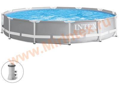INTEX 26712 Бассейн каркасный круглый Intex Prism Frame 366х76 см (с картриджным фильтр-насосом 2006 л/ч)