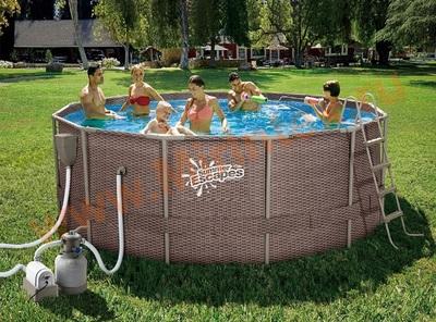 Summer Escapes Р20-1252-S Бассейн каркасный 366х132 см (песчаный фильтр-насос 4,1 м3/ч, лестница, подстилка, тент, набор для чистки DELUXE, скиммер)