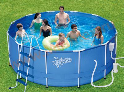 Summer Escapes Бассейн каркасный круглый 549х122 см (фильтр-насос 5,7м3/ч 220В, лестница, настил, тент, набор для чистки DELUXE, скиммер)
