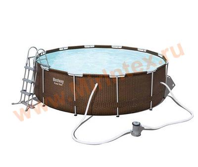 Bestway Бассейн каркасный круглый 427х107 см (видео, фильтр-насос 3,0 м3/ч, подстилка, тент, лестница)