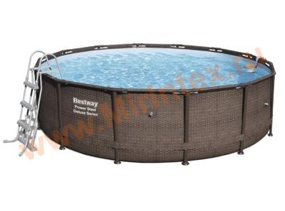 Bestway Бассейн каркасный круглый Power Steel Deluxe 488х122 см (подвесной фильтр-насос,лестница,настил,тент)