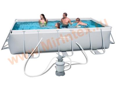 Bestway Бассейн каркасный прямоугольный 404х201х100 см, (песчаный фильтр-насосом 2006л/ч)