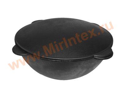 Кастрюля (казан) чугунная с чугунной крышкой-сковородой (Садж) 10 л