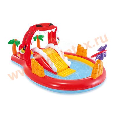 "INTEX Игровой центр-бассейн Счастливый Дино ""Happy Dino Play Center"" 196х170х107 см., от 3-х лет(горка,фонтан,водопад)"
