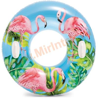 INTEX 58263 Надувной круг для плавания «фламинго» с ручками, d=97 см, от 9 лет.