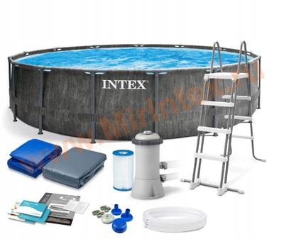 INTEX 26742 Бассейн каркасный Prism Frame Greywood, 457 х 122 см, картриджный фильтр-насос 3785л/ч , лестница, тент, подстилка, от 6 лет.
