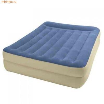 Надувные кровати INTEX Pillow Rest 152х203х47 см (с встроенным насосом 220В)