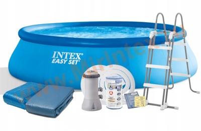 INTEX Бассейн надувной 457х107см (видео, фильтр-насос 220В, лест., настил, тент)