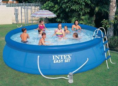 INTEX Бассейн надувной 457х107см (видео, фильтр-насос 220В, лест., настил, тент, сачок, скиммер)