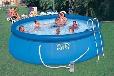 INTEX Бассейн надувной 457х122см (с картриджным фильтр-насосом 3785л/ч., лестница, настил, тент)