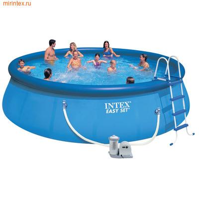 INTEX Бассейн надувной 549х122см (фильтр-насос 220 В, лестница, настил, тент)