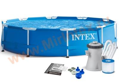 INTEX Бассейн каркасный круглый 305х76 см (видео,фильтр-насос 220В)