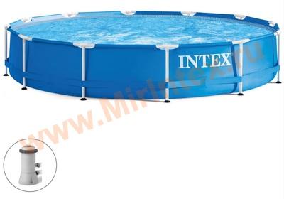 INTEX 28212 Бассейн каркасный Metal Frame Set, круглый 366 х 76 см, картриджный фильтр-насос 2006л/ч., от 6 лет.