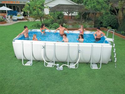 INTEX Бассейн каркасный прямоугольный 400х200х100 см (видео, фильтр-насос 220В, лест.)