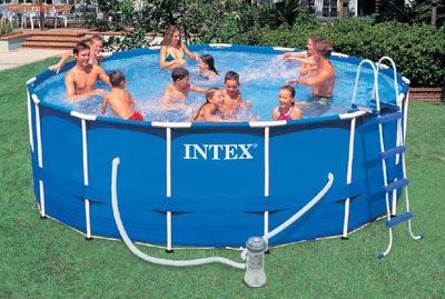 INTEX Бассейн каркасный круглый 457х91 см (видео, фильтр-насос 220В, лестница, настил, тент)
