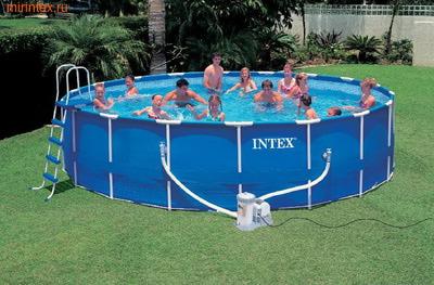 INTEX Бассейн каркасный круглый Intex 549х122 см (видео, фильтр-насос 220В, лестница, настил, тент) Metal Frame Pool