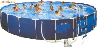 INTEX Бассейн каркасный круглый Intex 732х132 см (видео, фильтр-насос 220В, лестница, настил, тент) Metal Frame