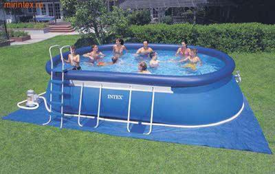 INTEX Бассейн надувной на опорах 610х366х122см ( фильтр-насос 220 В, лестница, настил, тент)