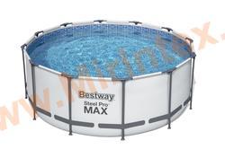 Bestway Бассейн каркасный круглый 366х122 см (видео,фильтр-насос 220 В, настил,тент,лестница)