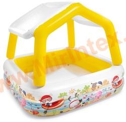 INTEX 57470 Бассейн надувной детский «Домик», 157х157х122 см, с навесом.