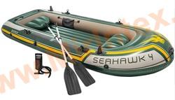 INTEX 68351 Лодка Seahawk 4, 351х145х48 см, вёсла, насос, до 480 кг, 4 местная.