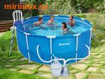 Bestway Бассейн каркасный круглый 366х122 см (видео, песочный фильтр-насос 220 В, настил, тент, лестница, набор для чистки)