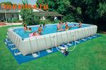 Bestway Бассейн каркасный прямоугольный 671х366х132 см (видео, песочный фильтр-насос 5,6 м3/ч, подстилка, тент, лестница)