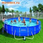 Bestway Бассейн каркасный круглый 549х122 см (фильтр-насос, лестница, тент, настил)
