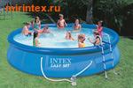 INTEX Бассейн надувной 457х91см, фильтр-насос 220В, лестн., настил, тент