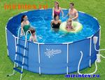 Summer Escapes Бассейн каркасный круглый 366х122 см (фильтр-насос 3м3 220В, лестница, настил, тент, набор для чистки DELUXE, скиммер)