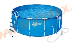 Summer Escapes Бассейн каркасный круглый 366х132 см (фильтр-насос 3м3 220В, лестница, настил, тент, набор для чистки DELUXE, скиммер)