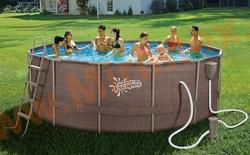 Summer Escapes Бассейн каркасный круглый 488х132 см (фильтр-насос 3,8м3 220В, лестница, настил, тент, набор для чистки DELUXE, скиммер)